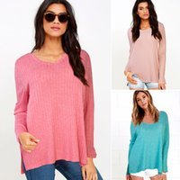 Wholesale Autumn HOT Women Street Fashion Pure color V neck Oversized Pullover Knitwear Lady Casual Loose Long sleeves Sweater S XL
