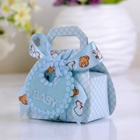 Favor Boxes bearing housings - Bear Shape DIY Gift Christening Baby Shower Party Favor Boxes Paper Candy Box with Bib Tags Ribbons