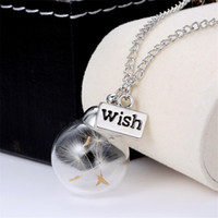 balls seeds - Sunshine Wish Bottle Real Dandelion Seeds Botanical Necklace Glass Ball Pendant Necklaces Fashion For Women New Style