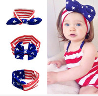 american flag ties - 2016 Hot American flag headband rabbit ears National Day baby tie headband hair accessories headflwer E197