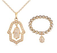 Wholesale Bracelets Necklaces Sets Fashion Luxury Quality AAA Zircon K Gold Plated Alloy Hand Style Party Jewelry Piece Set JS009