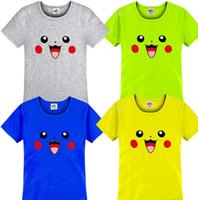 Cheap Kids poke cotton t shirts Cute Happy Pikachu Kids T-Shirt Christmas gift For Boy Girl Graphic Tees kids summer short sleeve KKA602