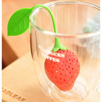 Wholesale DHL Free Shiipping Red Silicone Strawberry Design Loose Tea Leaf Strainer Tea Strainers Herbal Spice Infuser Filter Tools