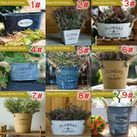 Wholesale New Metal Planter for Succulent Oval Sharp with Rope handle vintage flowers pots and Garden Rustic Garden Decoration Z474