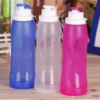 Wholesale 2016 Top Selling ML Creative Collapsible Foldable Silicone Sports Water Bottle Camping Canteens Travel Cups Color