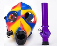 Cheap Solid & Mixed Colored & Luminous Silicon Gas Mask Pipe Gas Mask Bong Color Glow In Dark Smoking Filter Silicone Oil with Tubes