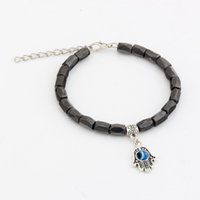 magnetic hematite - Hot New men and women fashions fashions Hamsa Hand Black Magnetic Hematite Faceted Beads Metals Alloy Loose Bead Beaded bracelets