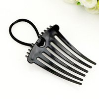 Wholesale New Design Europe Plastic Hair Comb Fluffy Ponytail Elastic Comb Horsetail Hairpins Black Coffee Color Selection Plastic Hair Styling Tool