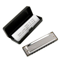 Wholesale Silver High quality Swan Metal Holes C key Harmonica with Metal Case box Hotsale Music learner beginner