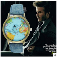 airplane clock - Women Men Unisex clock Fashion Vine mini Casual World Map watches By Airplane Dial Analog Quartz Wrist Watch for Children and adults