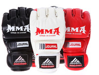 Wholesale MMA Leather Half Finger Fighting Boxing Gloves Mitts Sanda Sandbag Protector For UFC Muay Thai L257