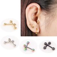 Wholesale 100pcs Ear Nail Bone Barbell Earring Piercing helix ear stud tragus Ear Piercing Black Silver Gold Cartilage Ring For Men Women