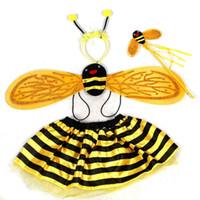 Precio de Pequeñas faldas de los niños-La venta al por mayor de los niños de la libélula de la danza de la princesa Dance Falda del juego del traje de la abeja de los cabritos libera el envío de la gota del pedazo / del sistema de 4 pedazos / set, EH0022