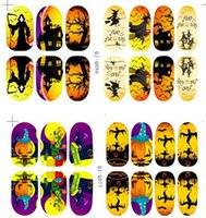 Wholesale Halloween D nail art stickers glow in the light nail decals nail tips nail wraps vinyl nail stickers for hollowen party