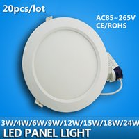 Wholesale 20pcs Ultra Thin w w w w w w w Round LED Ceiling Recessed Light AC85 V LED Panel Light SMD2835 LED Downlight