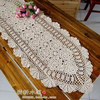 beautiful coffee tables - French beautiful beige needle crochet table tv cabinet cover cutout table runner decoration mat home coffee table