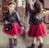active rocks - 2016 christmas Dresses Rock Girls Dress PU Leather Tulle Splicing Red Princess Long Sleeve Children Kids Dress Clothing truelovewangwu