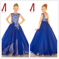 Wholesale 2017 Hot Cap Sleeves Navy Blue chiffon Girls Pageant Dresses Kids Crystal Beads Top Floor Length Formal Party Flower Girls Gowns
