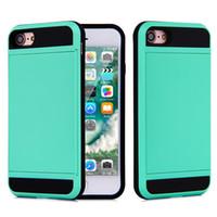 al por mayor cubiertas del teléfono móvil iphone-Para Apple iPhone 7 más 6 6S Plus funda de teléfono celular con Slid titular de la tarjeta Mobile Back Cover Shell Protector a prueba de golpes