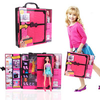 Wholesale Retail Barbiedoll Dream Wardrobe play house girls handbag gift fashion doll accessories Christmas fancy gift pricess dream house