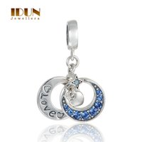 Wholesale Genuine Sterling Silver Jewelry Moon Represents My love you Dangle Charm Beads With CZ Crystal Fits Pandora Charms Bracelet S365