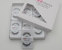 beauty wholsale - Pairs Soft False Fake Human Hair Eyelashes Adhesives Glamour Eye lashes Red_Cherry Makeup Beauty Wholsale