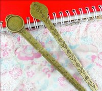 Wholesale A3465 MM Fit MM Zinc alloy antique bronze plated Morning glory ruler metal bookmark jewelry settings round cabochon base bezel