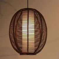 Wholesale Southeast Asia Rattan lantern Restaurant Ceiling Pendant Light Study Room Pendant lamp Stylish Dining Room Pedant Chandeliers