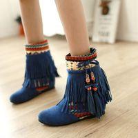 beaded footwear - Women New Fashion Spring Autumn Flat Hidden Heels Beaded Tassel Ladies Boots National Trend Shoes Footwear Size K00457