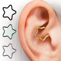 Wholesale New Punk Fashion Ear Tragus Cuff Wrap Five Pointed Star Clip Nose Ring On Earring cartilage Non Piercing