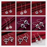 Wholesale Mix order pairs diffrent style women s gemstone sterling silver earring E45 fashion silver Dangle Chandelier earrings