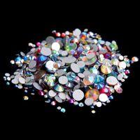 ab rhinestones flatback - Mixed AB Colors ss3 ss10 Non Hotfix Crystal Rhinestones For Nails Art Charm Flatback Glue On Strass Stones DIY Craft Garments Accessories