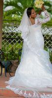 Wholesale Plus Size Bride Dresses Custom Made Elegant Beaded Lace Long Sleeves Mermaid Wedding Dress vestidos de noiva