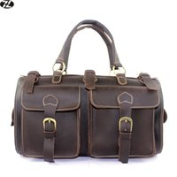 Wholesale carzy horse genuine leather men travel bag large handbag vintage duffel bag men messenger shoulder bag outdoor Tote luggage Bag