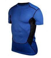 Wholesale Men s Base Layer Compression Shirts Bodybuilding Fitness Yoga T shirts Crossfit Men Gym Pro Sleeve Shirt