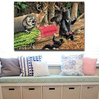 al por mayor break fotografías-1 Picture Combinación Osos Jugar En Forest Broken Tree Wall Art Pintura Sobre Lona Animal Pictures Para Decoración Para El Hogar
