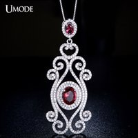 artisan sterling silver - UMODE Genuine Sterling Silver Queen s Artisan Crafted Red Romance Micro Cubic Zirconia Pave Necklaces Pendants YN0010A