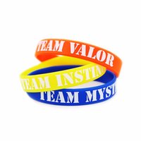 Wholesale 3 Colors poke go Bracelet Team Valor Instinct Mystic Logo Red Blue Yellow Silicone Bracelets Sports Women and Men fans