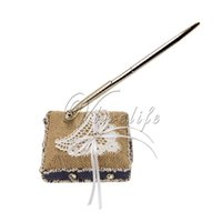 Wholesale Burlap Wedding Pen Set with White lace Butterfly Satin Ribbons Bow Pen and Pen Stand Pen Holder for Wedding Favors Party Decorations