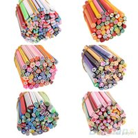 fimo canes - 50pcs bag Mixed Styles Fimo Polymer D Nail Art Canes Stickers Rods Polymer Clay Stickers M01810