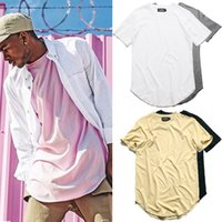 Wholesale Cureved Hem Hip Hop Tshirt Men Summer Kpop Longline Extended Tee Shirts Male T shirts Kanye West Justin Bieber