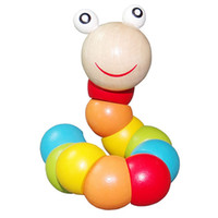 Wholesale Baby Toy Wooden Toys Fingers Flexible Twisting Worm Educational Toys For Children
