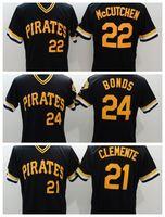 Wholesale Cheap Uniform Shirts For Men - Pirates #24 Bonds Baseball Jerseys #22 McCutchen Baseball Shirts #21 Clemente Baseball Uniform Men Baseball Shirts for Cheap Sale