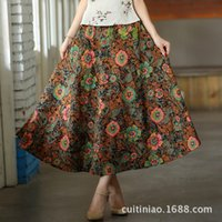 Wholesale Women folk custom print clothes Fashion Monet Bohemia big skirt Women Long skirt linen cotton Lady skirt