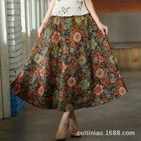 big ladies clothes - Women folk custom print clothes Fashion Monet Bohemia big skirt Women Long skirt linen cotton Lady skirt
