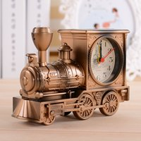 best desk - Vintage Retro Train Desk Clock Home Decor Colors Creative fashion Quartz Clocks Best Promotion Gift with Boxes