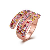 Wholesale 18k Gold Plated Rings Fashion Jewelry with Colorful Rhinestone Finger Rings Geometric Shape RGPR318 US Size