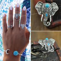 Wholesale Hot Punk Vintage Ring Womens Retro Elephant Finger Rings Set Boho Style