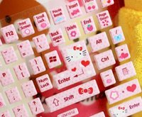 Wholesale 1PACK Sweet Hello KITTY DIY Computer Laptop Keyboard Paster Stickers Sweet Paster Poster PVC Sticker Notebook Etc Laptop Label