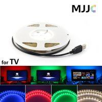 Wholesale Smd Led For Car - MJJC 5V DC LED Strips 1m 2m 3m 4m 5m SMD3528 300LEDs RGB SMD5050 150 LEDs Flexible LED Strip USB Cable for TV Car Computer Tent Lighting